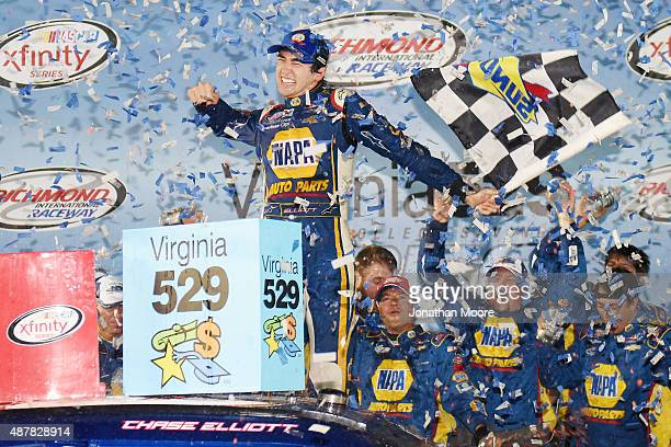 Chase Elliott driver of the NAPA Auto Parts Chevrolet celebrates in Victory Lane after winning the NASCAR XFINITY Series Virginia529 College Savings...