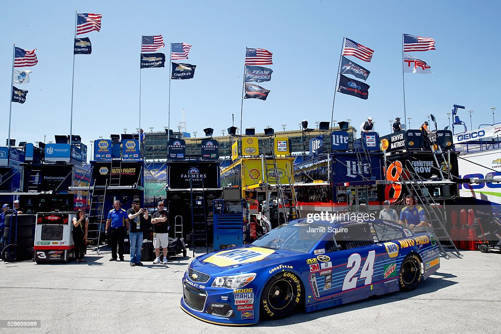 Chase Elliott, driver of the #24 NAPA Auto Parts Chevrolet, drives during practice for the NASCAR Sprint Cup Series Go Bowling 400 at Kansas Speedway on May 6, 2016 in Kansas City, Kansas.