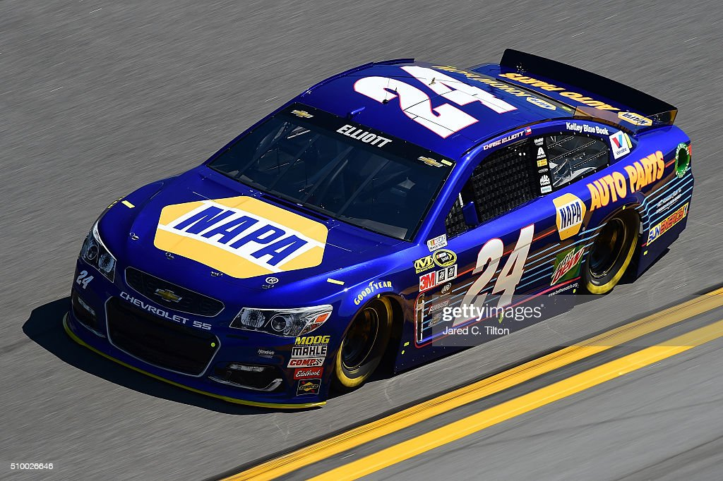 <a gi-track='captionPersonalityLinkClicked' href=/galleries/search?phrase=Chase+Elliott&family=editorial&specificpeople=3623017 ng-click='$event.stopPropagation()'>Chase Elliott</a>, driver of the #24 NAPA Auto Parts Chevrolet, during practice for the NASCAR Sprint Cup Series Daytona 500 at Daytona International Speedway on February 13, 2016 in Daytona Beach, Florida.