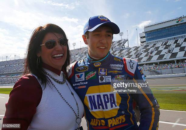 Chase Elliott driver of the NAPA Auto Parts Chevrolet hugs his mother Cindy Elliott after winning the Pole Award and qualifying for the NASCAR Sprint...
