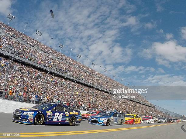 Chase Elliott driver of the NAPA Auto Parts Chevrolet leads the field during the pace laps prior to the NASCAR Sprint Cup Series DAYTONA 500 at...