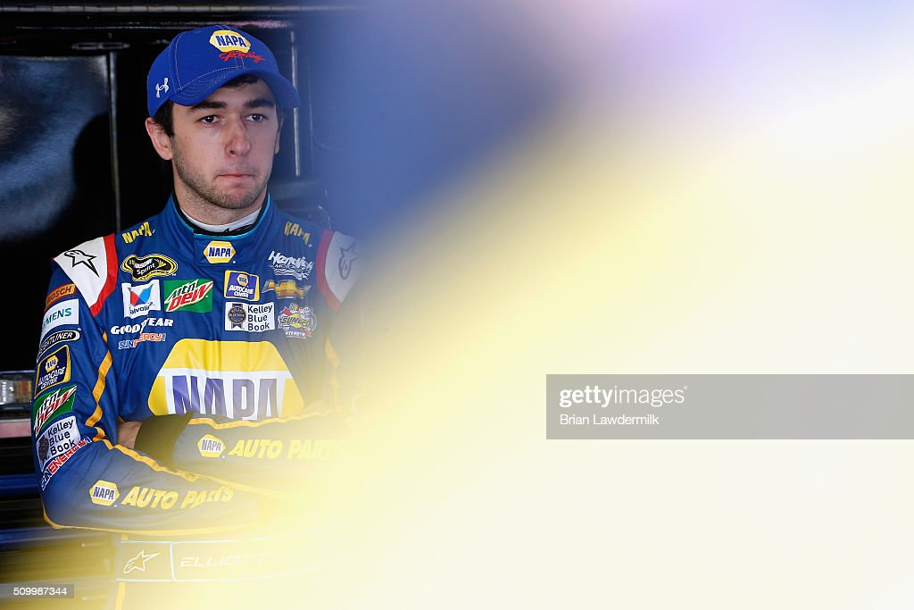 <a gi-track='captionPersonalityLinkClicked' href=/galleries/search?phrase=Chase+Elliott&family=editorial&specificpeople=3623017 ng-click='$event.stopPropagation()'>Chase Elliott</a>, driver of the #24 NAPA Auto Parts Chevrolet, looks on in the garage area during practice for the NASCAR Sprint Cup Series Daytona 500 at Daytona International Speedway on February 13, 2016 in Daytona Beach, Florida.