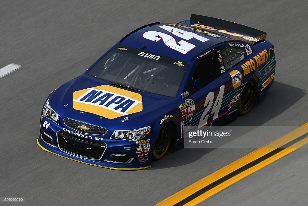 Chase Elliott, driver of the #24 NAPA Auto Parts Chevrolet, practices for the NASCAR Sprint Cup Series GEICO 500 at Talladega Superspeedway on April 29, 2016 in Talladega, Alabama.