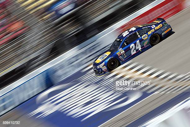 Chase Elliott driver of the NAPA Auto Parts Chevrolet practices for the NASCAR Sprint Cup Series FireKeepers Casino 400 at Michigan International...
