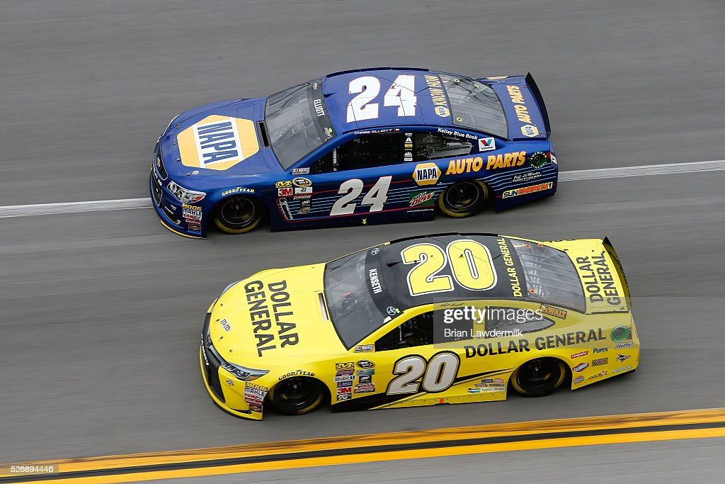 Chase Elliott, driver of the #24 NAPA Auto Parts Chevrolet, races Matt Kenseth, driver of the #20 Dollar General Toyota, during the NASCAR Sprint Cup Series GEICO 500 at Talladega Superspeedway on May 1, 2016 in Talladega, Alabama.