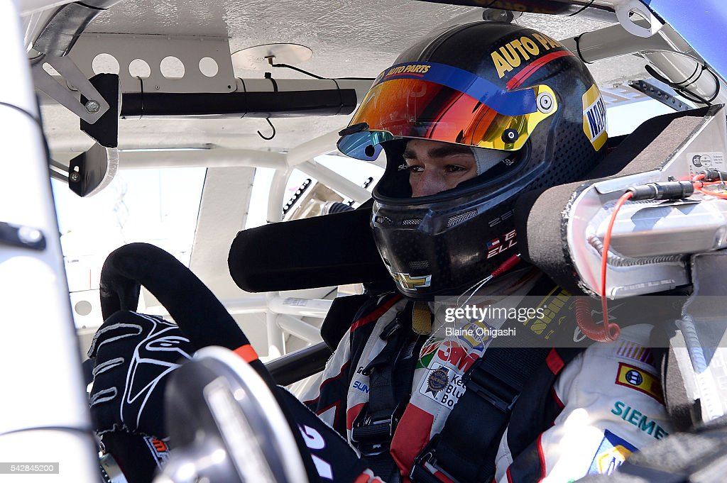 <a gi-track='captionPersonalityLinkClicked' href=/galleries/search?phrase=Chase+Elliott&family=editorial&specificpeople=3623017 ng-click='$event.stopPropagation()'>Chase Elliott</a>, driver of the #24 NAPA Auto Parts Chevrolet, sits in his car during practice for the NASCAR K&N West Series Chevys Fresh Mex 200 at Sonoma Raceway on June 24, 2016 in Sonoma, California.