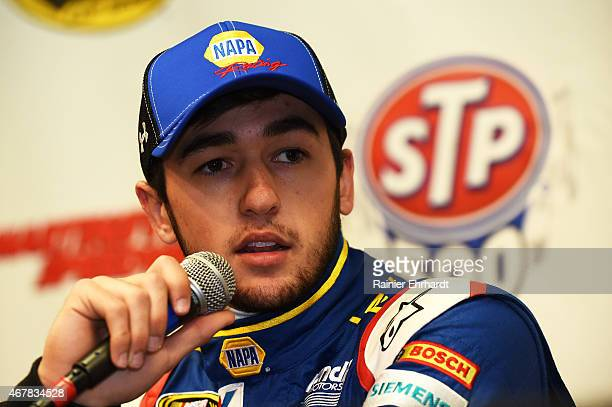 Chase Elliott driver of the NAPA AUTO PARTS Chevrolet speaks to the media during a press conference after qualifying for the NASCAR Sprint Cup Series...