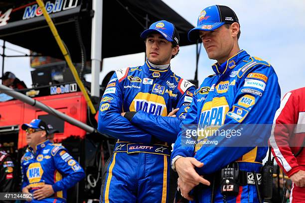 Chase Elliott driver of the NAPA Auto Parts Chevrolet speaks with his crew chief Kenny Francis before the start of the NASCAR Sprint Cup Series...