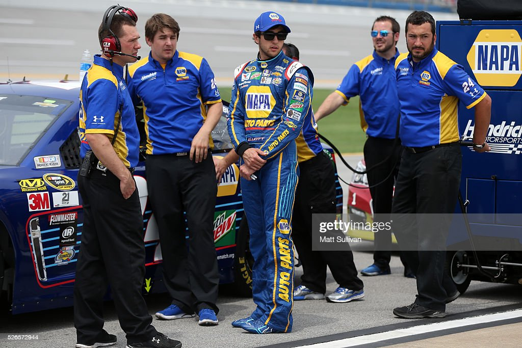 Chase Elliott, driver of the #24 NAPA Auto Parts Chevrolet, stands on the grid during qualifying for the NASCAR Sprint Cup Series GEICO 500 at Talladega Superspeedway on April 30, 2016 in Talladega, Alabama.