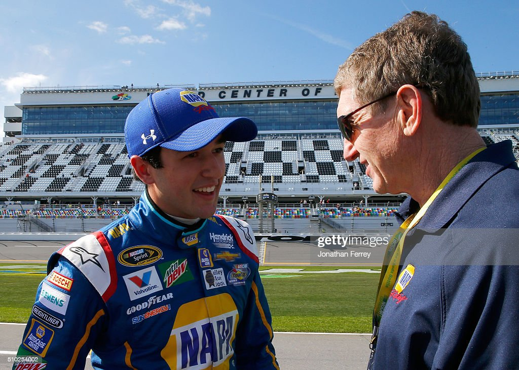 <a gi-track='captionPersonalityLinkClicked' href=/galleries/search?phrase=Chase+Elliott&family=editorial&specificpeople=3623017 ng-click='$event.stopPropagation()'>Chase Elliott</a>, driver of the #24 NAPA Auto Parts Chevrolet, talks with his father <a gi-track='captionPersonalityLinkClicked' href=/galleries/search?phrase=Bill+Elliott&family=editorial&specificpeople=208084 ng-click='$event.stopPropagation()'>Bill Elliott</a> after winning the Pole Award and qualifying for the NASCAR Sprint Cup Series Daytona 500 at Daytona International Speedway on February 14, 2016 in Daytona Beach, Florida.
