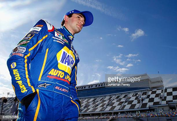 Chase Elliott driver of the NAPA Auto Parts Chevrolet walks on the grid during qualifying for the NASCAR Sprint Cup Series Daytona 500 at Daytona...