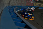 Chase Elliott driver of the NAPA AUTO PARTS Ford leads a pack of cars during the NASCAR Nationwide Series TREATMYCLOTCOM 300 at Auto Club Speedway on...