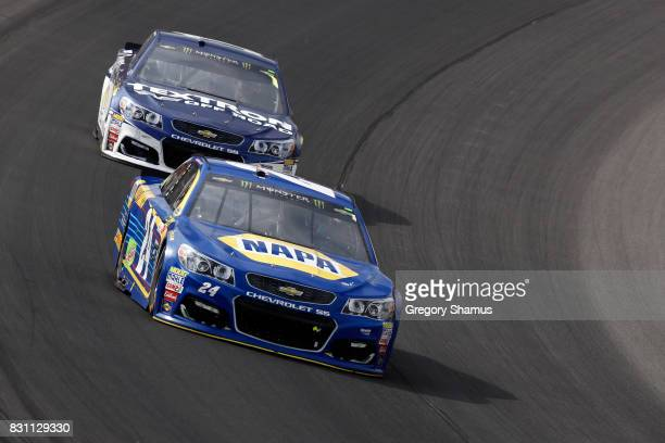 Chase Elliott driver of the NAPA Chevrolet leads Jamie McMurray driver of the Cessna Chevrolet during the Monster Energy NASCAR Cup Series Pure...