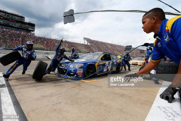 Chase Elliott driver of the NAPA Chevrolet pits during the Monster Energy NASCAR Cup Series Pure Michigan 400 at Michigan International Speedway on...