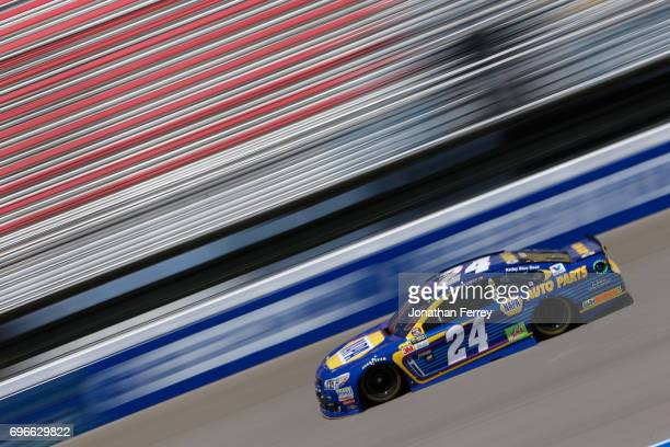 Chase Elliott driver of the NAPA Chevrolet practices for the Monster Energy NASCAR Cup Series FireKeepers Casino 400 at Michigan International...