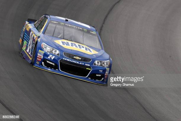 Chase Elliott driver of the NAPA Chevrolet practices for the Monster Energy NASCAR Cup Series Pure Michigan 400 at Michigan International Speedway on...