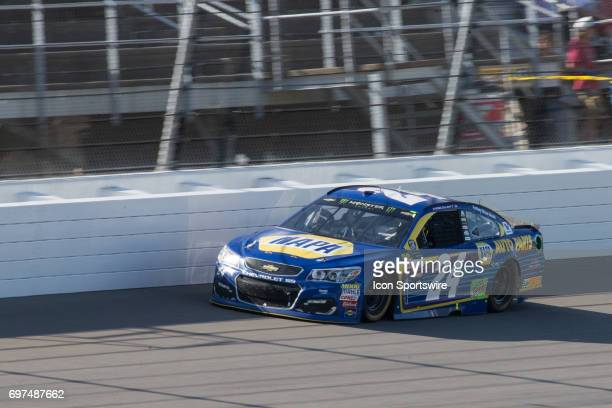 Chase Elliott driver of the NAPA Chevrolet races during the Monster Energy Cup Series Firekeepers Casino 400 race on June 18 2017 at Michigan...