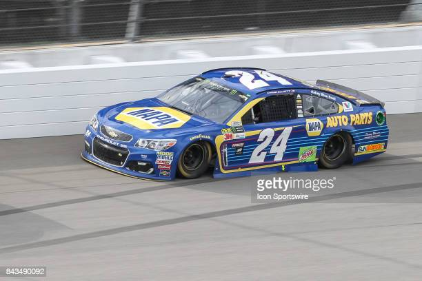 Chase Elliott driver of the NAPA Chevrolet races during the Monster Energy NASCAR Cup Series Pure Michigan 400 race on August 13 2017 at Michigan...