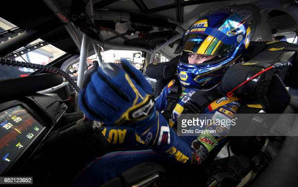 Chase Elliott driver of the NAPA Chevrolet sits in his car during practice for the Monster Energy NASCAR Cup Series Kobalt 400 at Las Vegas Motor...
