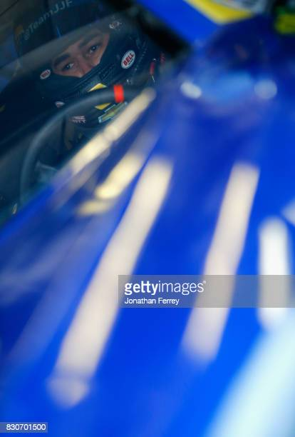Chase Elliott driver of the NAPA Chevrolet sits in his car during practice for the Monster Energy NASCAR Cup Series Pure Michigan 400 at Michigan...