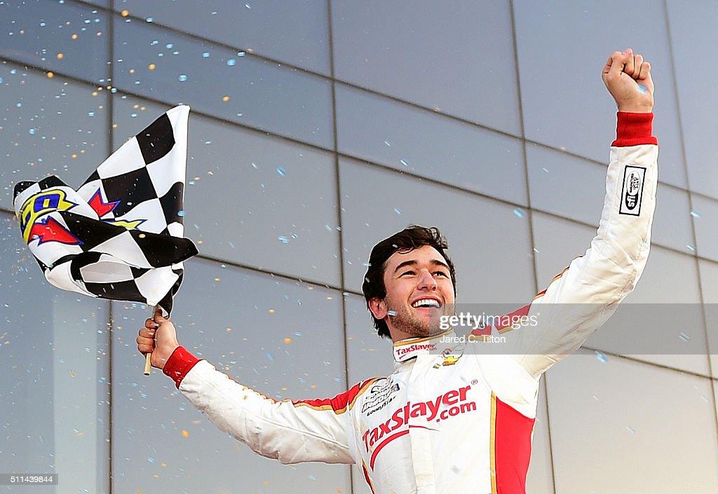 Chase Elliott, driver of the #88 TaxSlayer.com Chevrolet, celebrates in Victory Lane after winning the NASCAR XFINITY Series PowerShares QQQ 300 at Daytona International Speedway on February 20, 2016 in Daytona Beach, Florida.