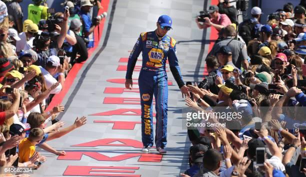 Chase Elliott greets fans during driver introductions at the Daytona 500 on Sunday Feb 26 2017 at Daytona International Speedway in Daytona Beach Fla