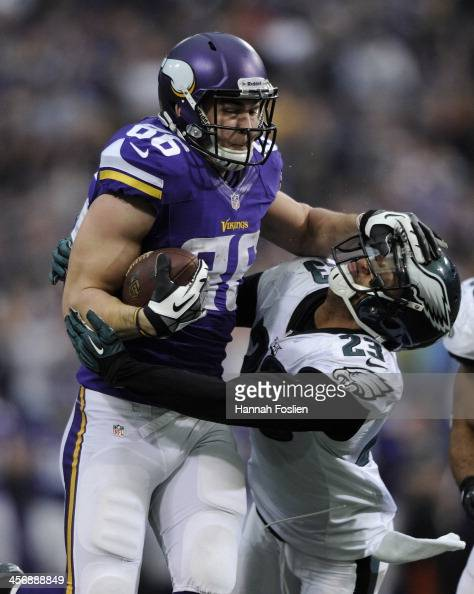 Chase Ford of the Minnesota Vikings carries the ball against Patrick Chung of the Philadelphia Eagles during the fourth quarter of the game on...
