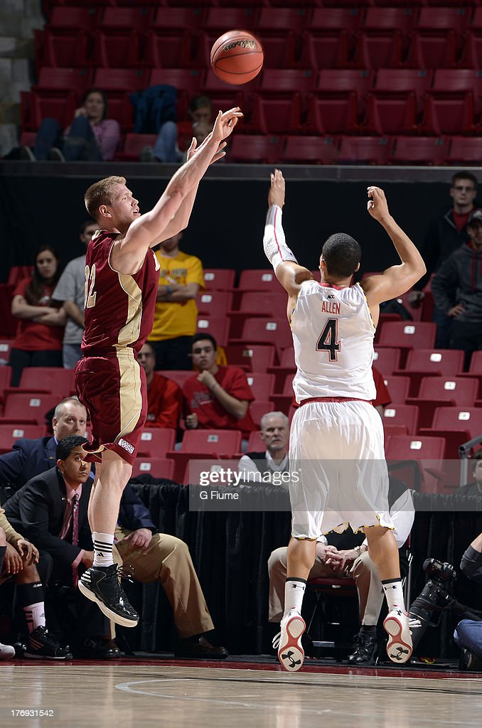 Chase Hallam of the Denver Pioneers shoots the ball against the Maryland Terrapins during the second round of the NIT Basketball Tournament at the...