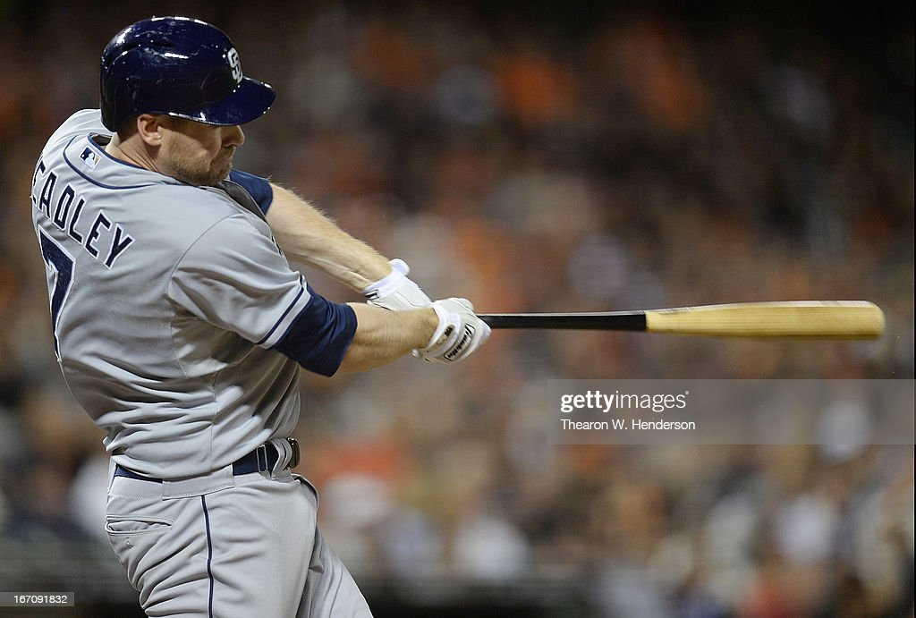 <a gi-track='captionPersonalityLinkClicked' href=/galleries/search?phrase=Chase+Headley&family=editorial&specificpeople=4353228 ng-click='$event.stopPropagation()'>Chase Headley</a> #7 of the San Diego Padres hits a solo home run against the San Francisco Giants in the sixth inning at AT&T Park on April 19, 2013 in San Francisco, California.