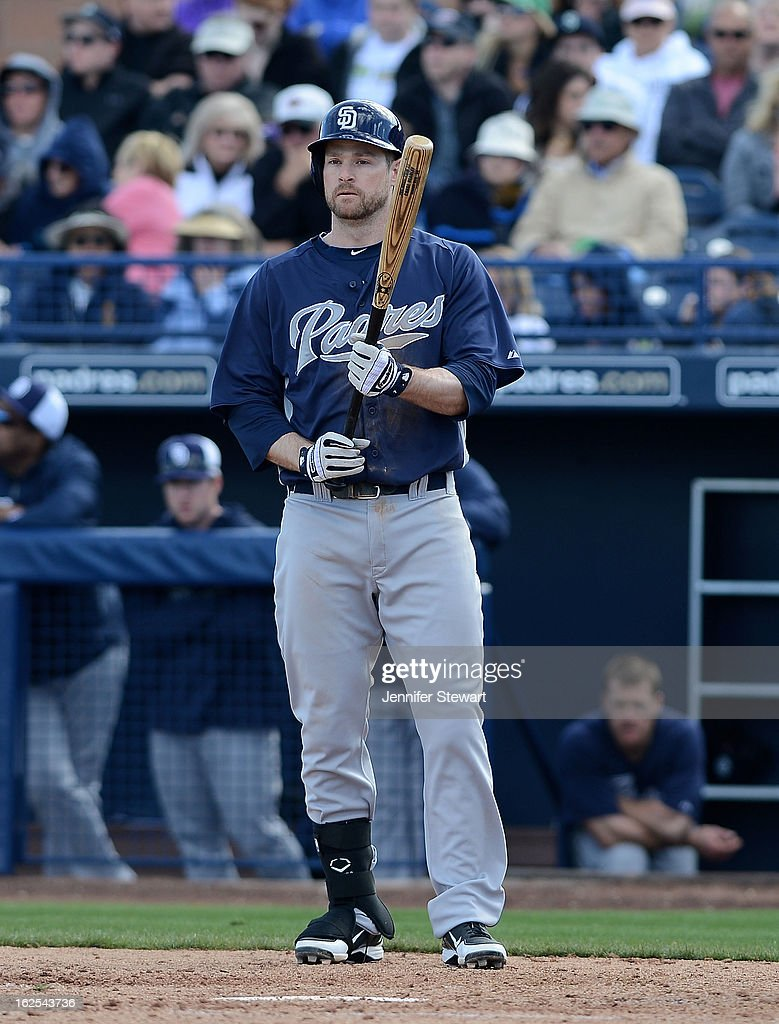 <a gi-track='captionPersonalityLinkClicked' href=/galleries/search?phrase=Chase+Headley&family=editorial&specificpeople=4353228 ng-click='$event.stopPropagation()'>Chase Headley</a> #7 of the San Diego Padres prepares to bat against the Seattle Mariners during the spring training game at Peoria Sports Complex on February 24, 2013 in Peoria, Arizona.