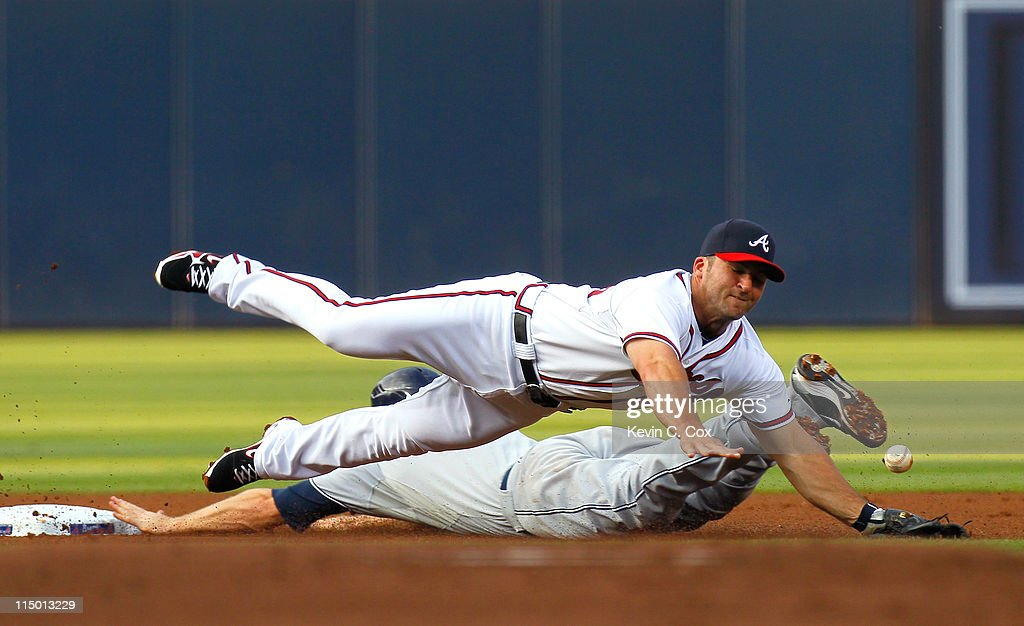 <a gi-track='captionPersonalityLinkClicked' href=/galleries/search?phrase=Chase+Headley&family=editorial&specificpeople=4353228 ng-click='$event.stopPropagation()'>Chase Headley</a> #7 of the San Diego Padres steals second base under <a gi-track='captionPersonalityLinkClicked' href=/galleries/search?phrase=Dan+Uggla&family=editorial&specificpeople=542208 ng-click='$event.stopPropagation()'>Dan Uggla</a> #26 of the Atlanta Braves in the first inning at Turner Field on June 1, 2011 in Atlanta, Georgia.