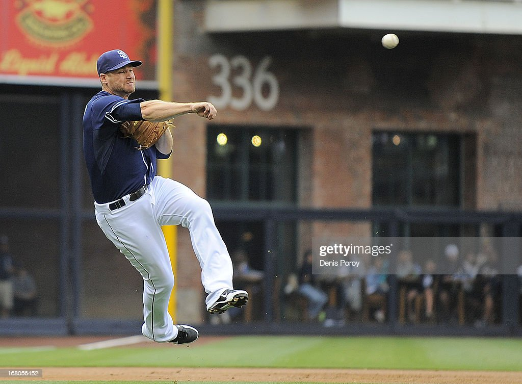 <a gi-track='captionPersonalityLinkClicked' href=/galleries/search?phrase=Chase+Headley&family=editorial&specificpeople=4353228 ng-click='$event.stopPropagation()'>Chase Headley</a> #7 of the San Diego Padres throws to first base to get the out on Paul Goldschmidt #44 of the Arizona Diamondbacks during the first inning of a baseball game at Petco Park on May 4, 2013 in San Diego, California.