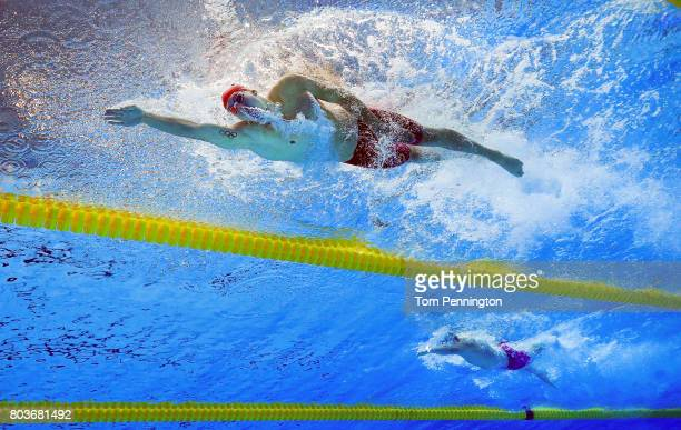 Chase Kalisz leads Jay Litherland to win the Men's 400 LC Meter Individual Medley Final during the 2017 Phillips 66 National Championships World...