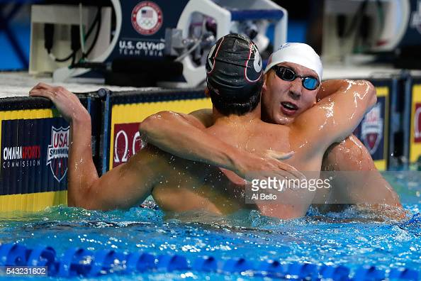 Chase Kalisz of the United States celebrates with Jay Litherland of the United States after winning the final heat for the Men's 400 Meter Individual...