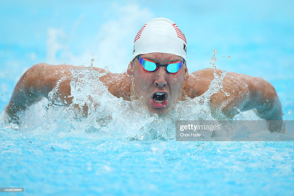 <a gi-track='captionPersonalityLinkClicked' href=/galleries/search?phrase=Chase+Kalisz&family=editorial&specificpeople=9496349 ng-click='$event.stopPropagation()'>Chase Kalisz</a> of the USA swims in the Men's 400m IM heats during day two of the 2014 Pan Pacific Championships at Gold Coast Aquatics on August 22, 2014 in Gold Coast, Australia.