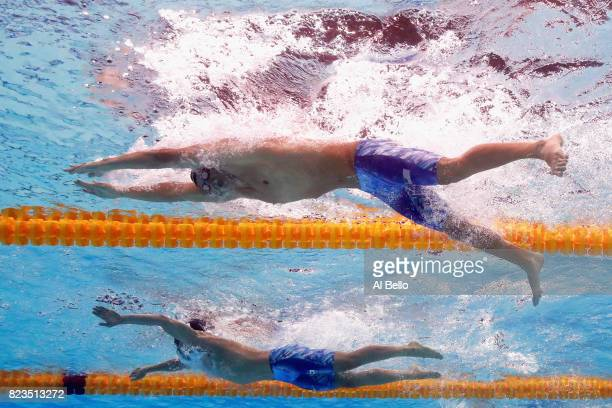 Chase Kalisz of United States and Kosuke Hagino of Japan compete during the Men's 200m Medley final on day fourteen of the Budapest 2017 FINA World...