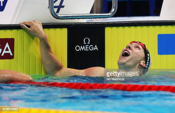 Chase Kalisz of United States celebrates after he wins the Men's 200m IM final on day fourteen of the FINA World Championships at the Duna Arena on...