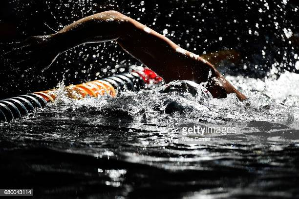 Chase Kalisz warms up prior to the start of action for day four of the Arena Pro Swim Series swim meet at the Georgia Tech McAuley Aquatic Center on...