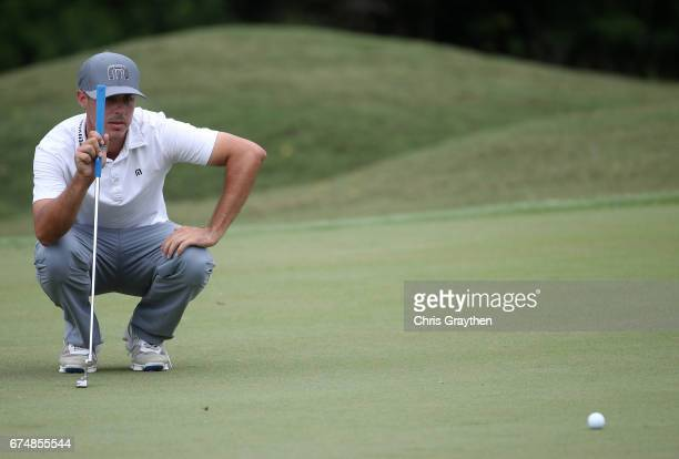 Chase Koepka lines up a putt during the third round of the Zurich Classic at TPC Louisiana on April 29 2017 in Avondale Louisiana