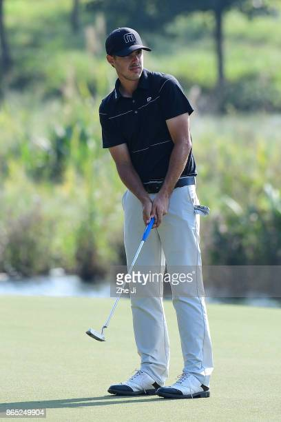 Chase Koepka of the United States plays a shot during the final round of the 2017 Foshan Open at the Foshan Golf Club on October 22 2017 in Foshan...