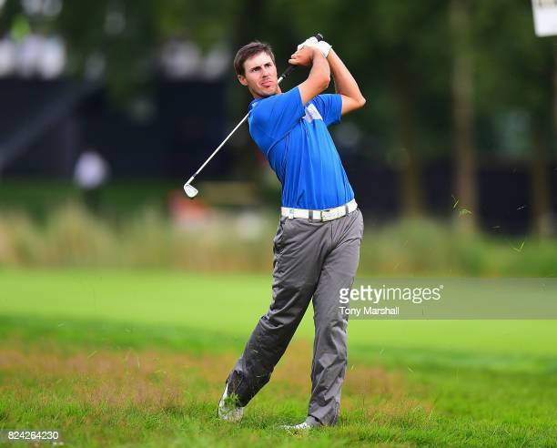 Chase Koepka of the United States plays his second shot on the 18th fairway during the Porsche European Open Day Three at Green Eagle Golf Course on...