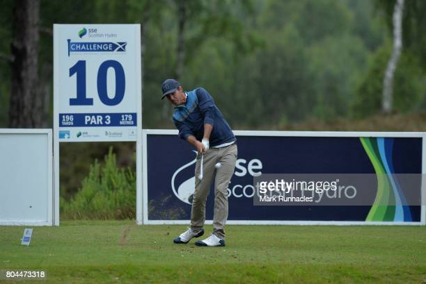Chase Koepka of USA plays his tee shot to the 10th hole during the second day of the 2017 SSE Scottish Hydro Challenge hosted by MacDonald Hotels and...