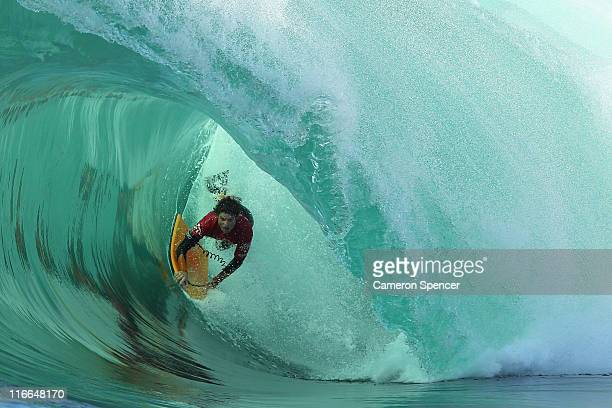 Chase O'Leary of Australia competes during the Shark Island Challenge at Shark Island near Cronulla on June 17 2011 in Sydney Australia
