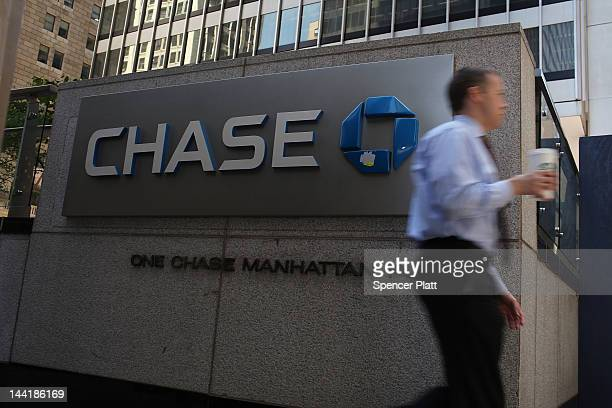 Chase sign is viewed at the company's New York headquarters on May 11 2012 in New York City In a surprise announcement after the markets closed on...
