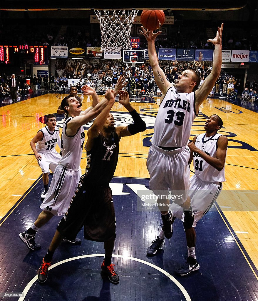 Chase Stigall #33 of the Butler Bulldogs reaches for a rebound against the St. Bonaventure Bonnies at Hinkle Fieldhouse on February 6, 2013 in Indianapolis, Indiana. Butler defeated St Bonaventure 77-58.