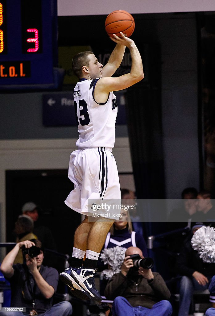 Chase Stigall #33 of the Butler Bulldogs shoots the ball against the Richmond Spiders at Hinkle Fieldhouse on January 16, 2013 in Indianapolis, Indiana. Butler defeated Richmond 62-47.