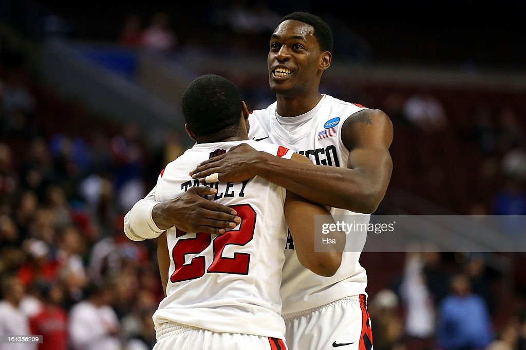 Chase Tapley #22 and Deshawn Stephens #23 of the San Diego State Aztecs celebrate after they won 70-55 against the Oklahoma Sooners during the second round of the 2013 NCAA Men's Basketball Tournament at Wells Fargo Center on March 22, 2013 in Philadelphia, Pennsylvania.
