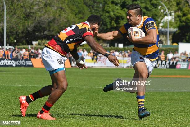 Chase Tiatia of Bay of Plenty in action during the round nine Mitre 10 Cup match between Bay of Plenty and Waikato at Tauranga Domain on October 14...
