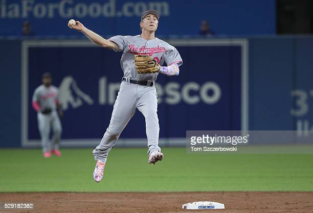 Chase Utley of the Los Angeles Dodgers gets the force out at second base but cannot turn the double play in the third inning during MLB game action...