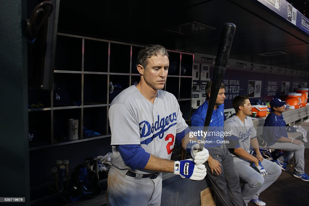 <a gi-track='captionPersonalityLinkClicked' href=/galleries/search?phrase=Chase+Utley&family=editorial&specificpeople=161391 ng-click='$event.stopPropagation()'>Chase Utley</a> #26 of the Los Angeles Dodgers in the dugout preparing to bat during the Los Angeles Dodgers Vs New York Mets regular season MLB game at Citi Field on May 27, 2016 in New York City.
